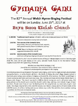 Beavercreek, Oregon Bryn Seion Welsh Church 82nd annual Gymanfa Ganu Singing Festival