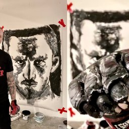 portrait-of-welsh-mma-fighter-brett-johns-is-painted-with-his-own-gloves