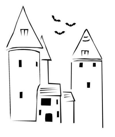 Welsh Halloween Pumpkin Stencil ( Castell Coch )