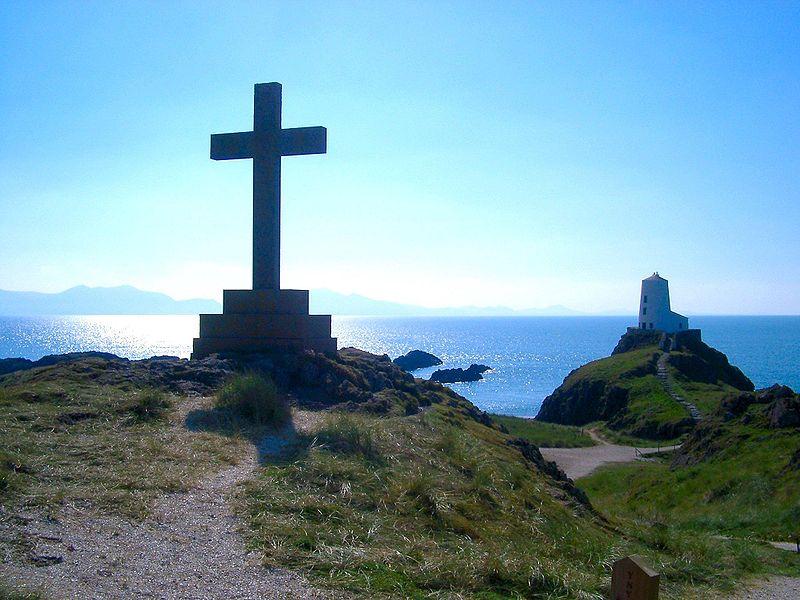 Lighthouse and cross at Llanddwyn