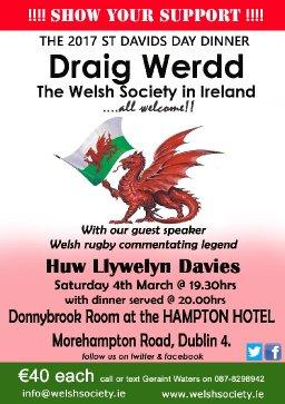 2017 St David's Day Dinner, Draig Werdd, The Welsh Society In Ireland
