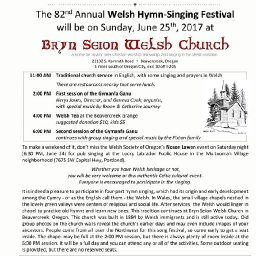 Beavercreek, Oregon Bryn Seion Welsh Church 82nd annual Gymanfa Ganu Singing Festival