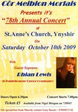 Côr Meibion Morlais Annual Concert - 10th October 2009