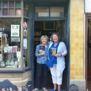 At Hay's famous Murder & Mayhem book shop.jpg