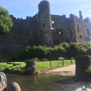 Chillin in front of Laugharne Castle.JPG.jpg