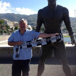 Madeira 2017 signing Ronaldo for Merthyr Town (even his statue moves quicker than our defence)