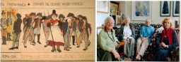LEFT - A panel of the Fishguard Tapestry. RIGHT - The first meeting of the Pembrokeshire Banner with from left to right – Audrey Walker, Glesni Williams (Embroiderers Guild), Eirian Short and Gaynor McMorrin