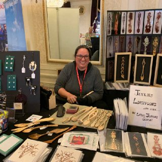 Laura Jenkins, love spoon carver in the Marketplace in Milwaukee, 2019