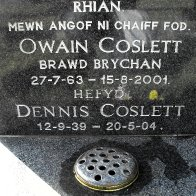 The grave of Dennis Coslett in Llangennech