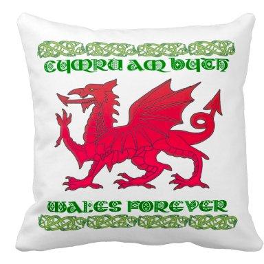 Welsh Dragon, Cymru Am Byth Throw Cushion / Pillow, Welsh Pillow, Welsh Cushion, -  COVER ONLY