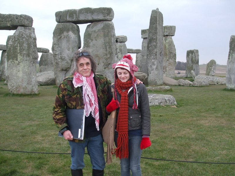 Dennis with daughter Tanith at Stonehenge