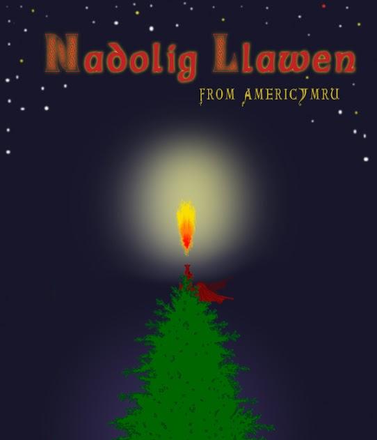 Nadolig Llawen, Merry Christmas from AmeriCymru! red dragon on Christmas tree