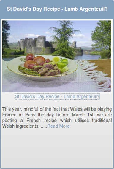 St David's Day Recipe - Lamb Argenteuil?