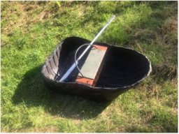 Welsh coracle on grass