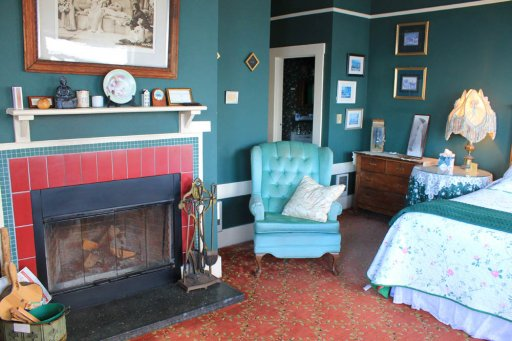 fireplace in Agatha Christie room
