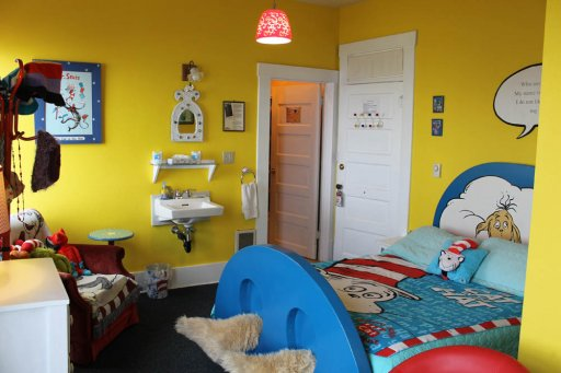 bed in Dr. Suess room